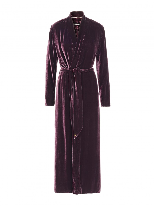 Luxury Dressing Gown Aubergine silk velvet - Shop all - Vibeke Scott