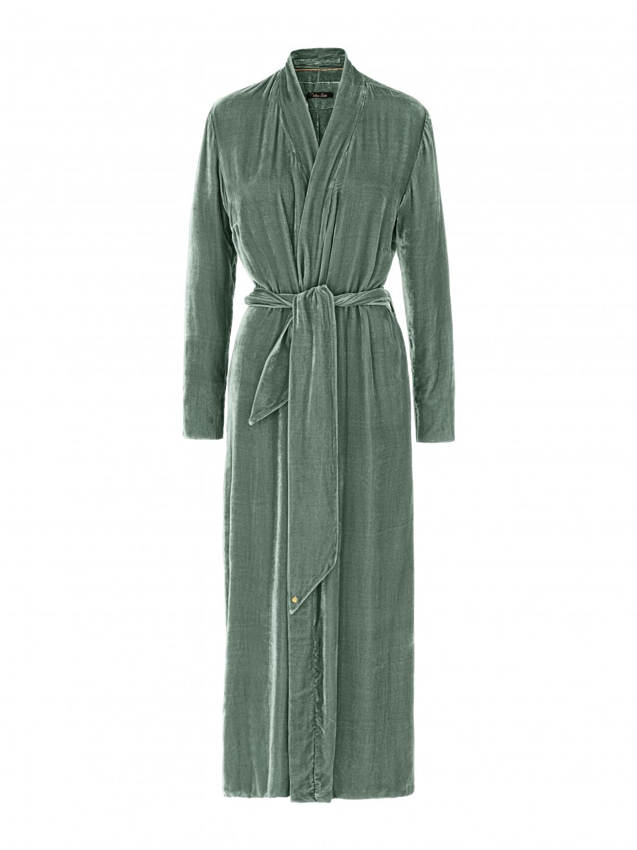 Luxury Dressing Gown Jade Silk Velvet