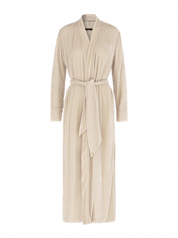 Luxury Dressing Gown Stone silk velvet - Shop all - Vibeke Scott
