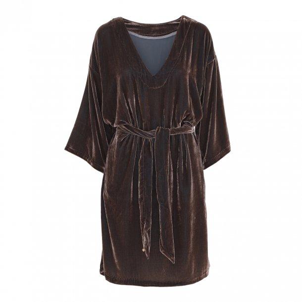 Diana Nougat Silk Velvet Dress