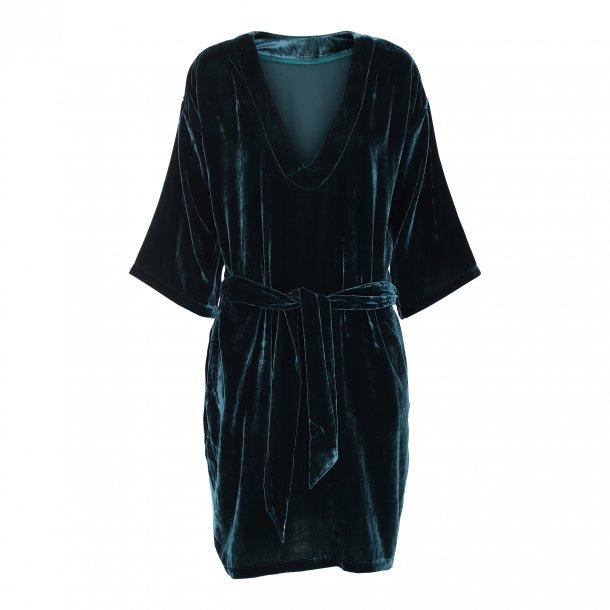 Diana Petrol Silk Velvet Dress