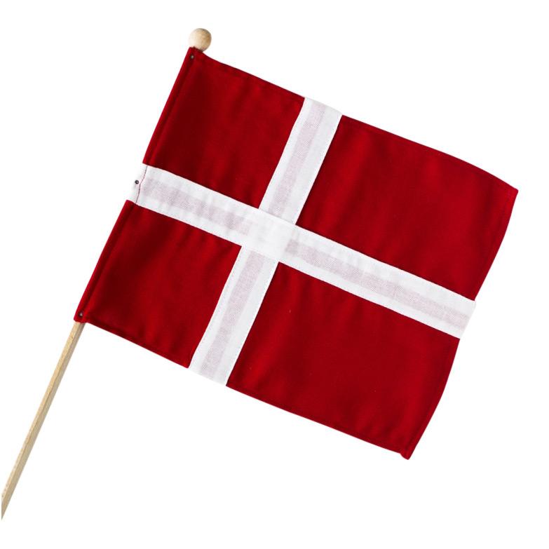 Dejlig Dannebrogsflag på pind - Hurraflag i stof fra Langkilde & Søn HD-07